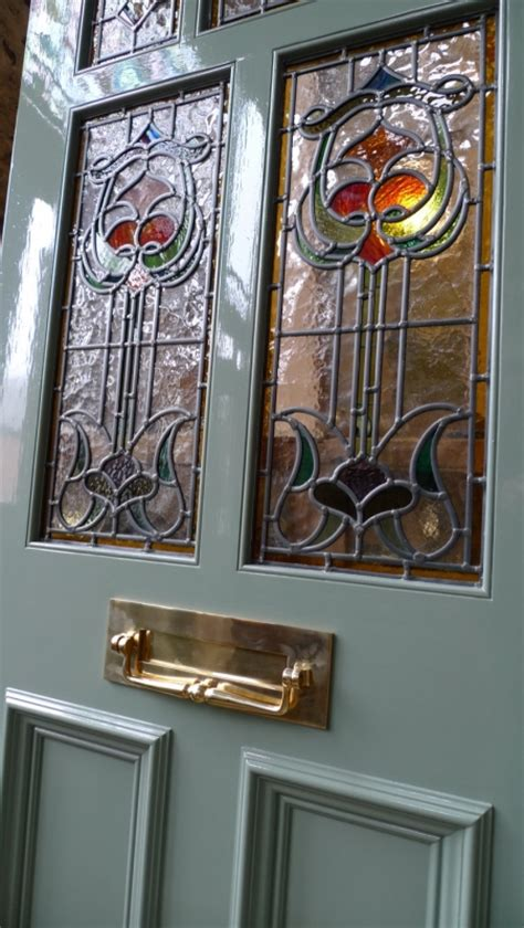 art nouveau stained glass door front door stained glass