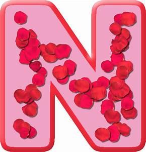Presentation Alphabets: Rose Petals Letter N