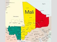 Abstract vector color map of Mali country colored by