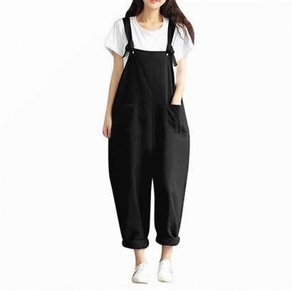 Loose Dungarees Pants Jumpsuit Oversized Casual Cotton