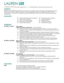 Template For Resume And Cover Letter Officer Cv Exle For Emergency Services Livecareer
