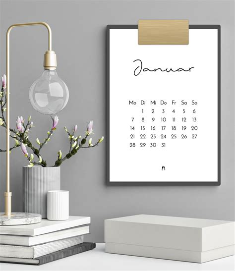minimalistischer kalender druckvorlageprintable filizity