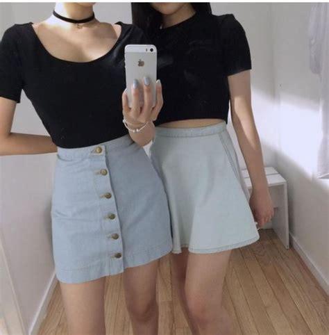 Skirt outfit pale mini skirt denim skirt denim style soft grunge shirt - Wheretoget