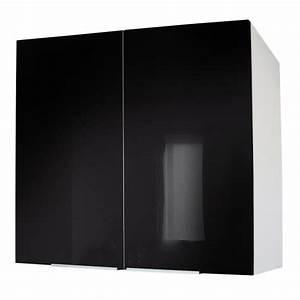 caisson portes haut 80 cm noir haute brillance achat With porte d entrée alu avec meuble salle de bain 100 cm 2 vasques