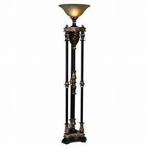 silvered bronze four column one light torchiere floor lamp With 4 column floor lamp