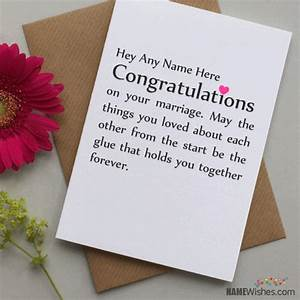 congratulations wedding wishes with name writing option With wedding cards to write name