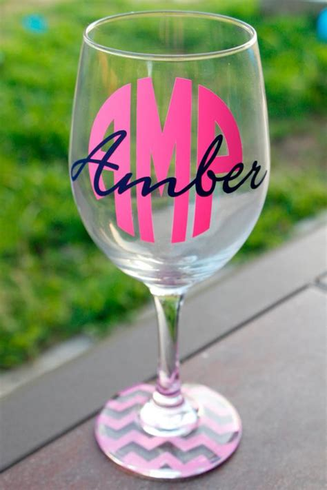monogrammed wine glass bridal party gift personalized wine