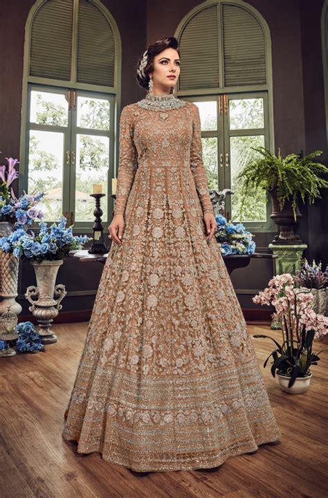 light brown designer heavy embroidered net bridal anarkali