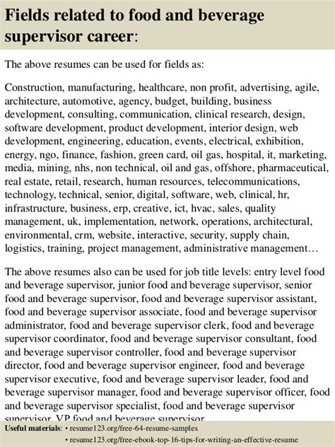 top 8 food and beverage supervisor resume sles