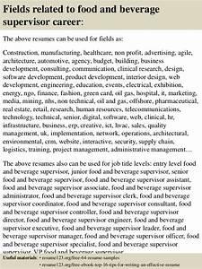 top 8 food and beverage supervisor resume samples With sample resume for food and beverage supervisor