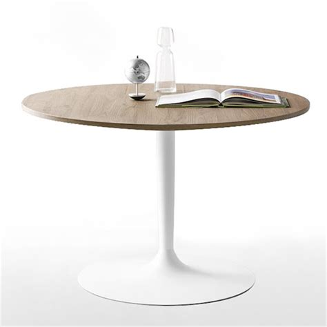 table cuisine ronde pied central table ronde design plateau bois pied blanc cdc design