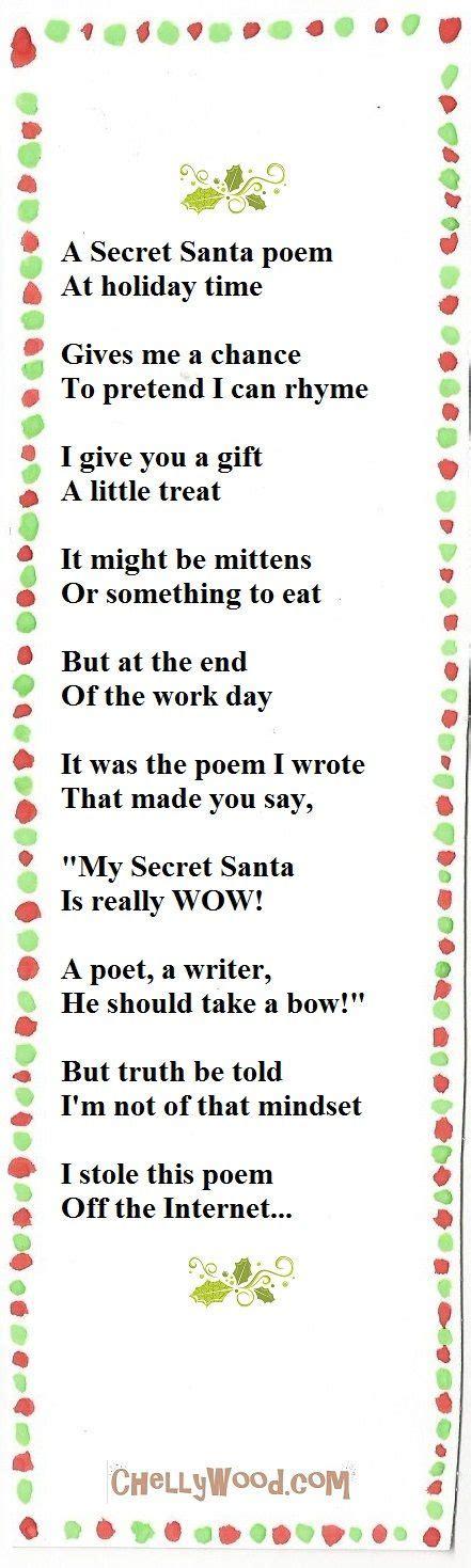 holiday gift exchange poem poem for secretsanta secretpalteachers secret santa secret santa