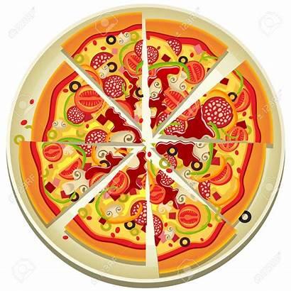 Pizza Clip Clipart Whole Slices Plate Illustration