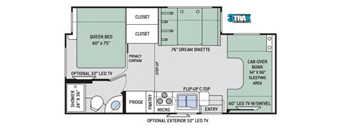 Best Class C Rv Floor Plans by Thor Chateau 24f Rv