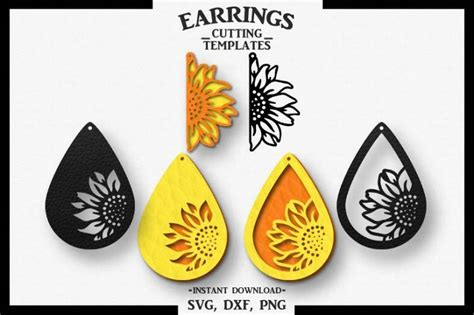 sunflower earring silhouette cameo cricut cutsvg dxf png