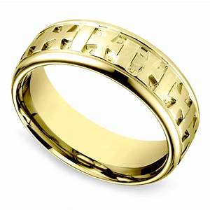 celtic cross men39s wedding ring in yellow gold image 01 With mens cross wedding rings