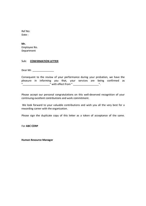 confirmation letter format  probation valid sample