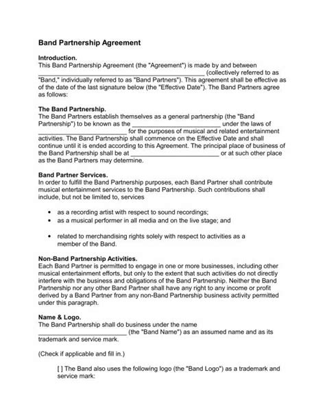 band contract template   word