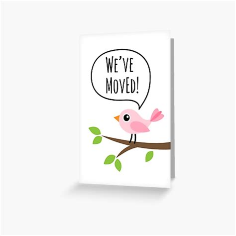 """Digital moving card we ve moved card template minimal etsy moving cards new address announcement weve moved announcements. """"We've moved new address cards with cute pink bird ..."""