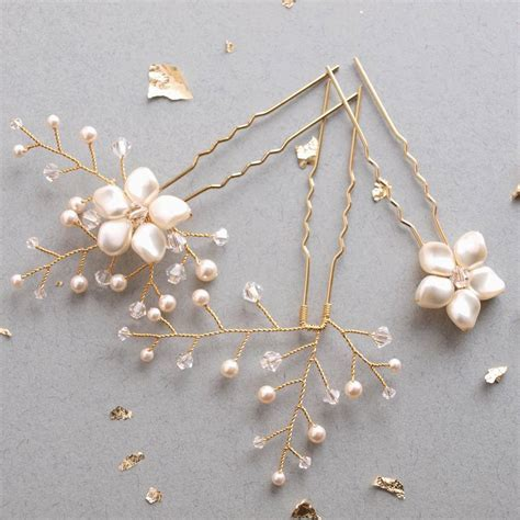 Petal Wedding Hair Pin Set Of Three By Jewellery Made By