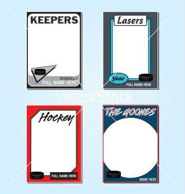 hockey card templates  fun fonts