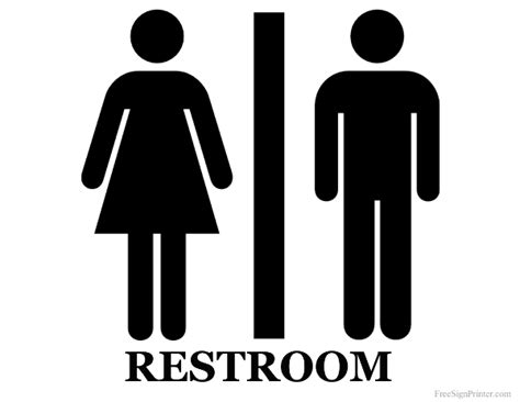 printable bathroom signs printable unisex restroom sign