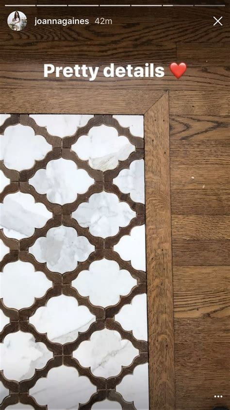 joanne gaines fixer upper arabesque tile inlay  wood