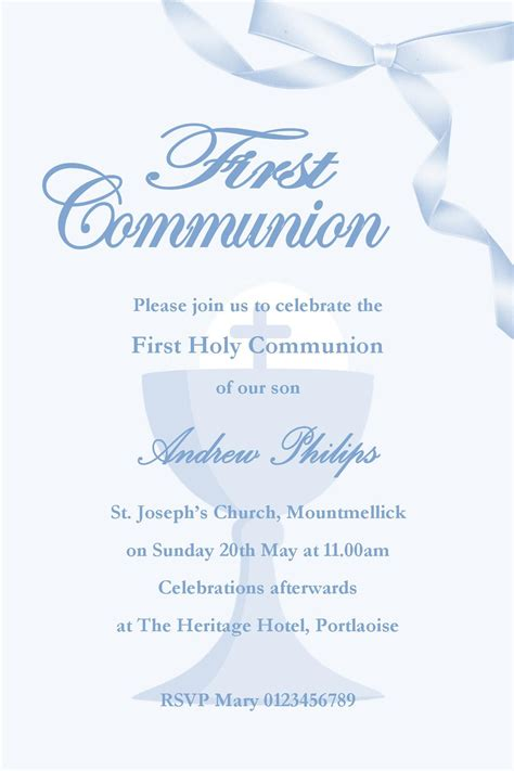 personalised  communion invitations boy  design