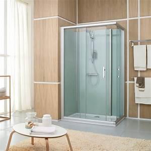 cabine de douche fermee access confort 120x80 mm angle With porte de douche coulissante avec meuble d angle salle de bain lapeyre