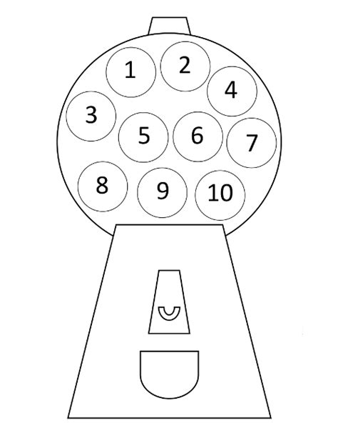 gumball machine template counting activity for preschoolers from abcs to acts