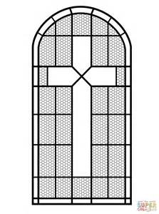 Cross Stained Glass Window Coloring Page