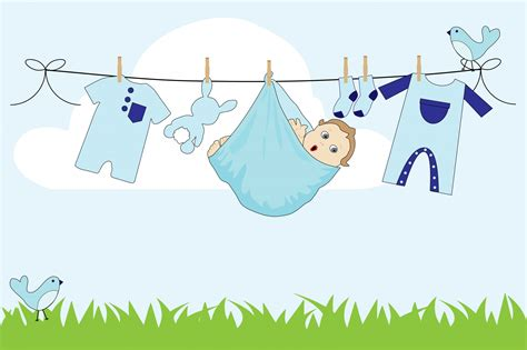 Baby Boy Clothes Line Free Stock Photo