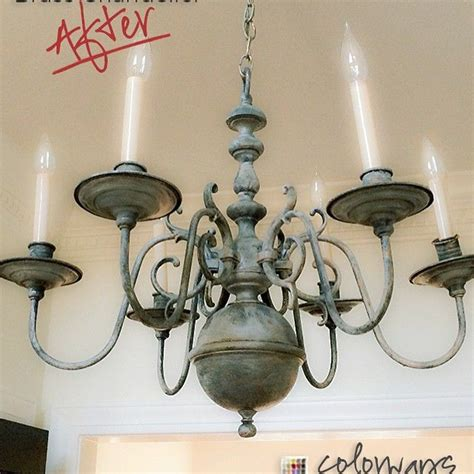 chalk paint   outdated brass chandelier