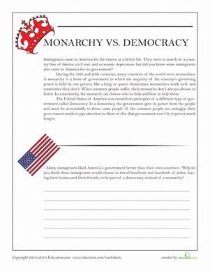 democracy worksheets for 5th grade monarchy vs democracy worksheet education