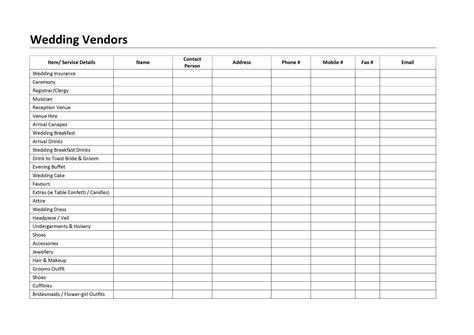 Wedding Vendor Checklist Template by Wedding Vendors