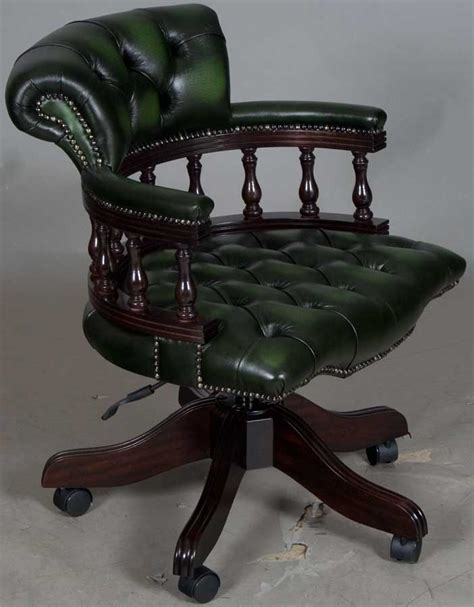leather swivel desk chair captains style green leather swivel office desk chair