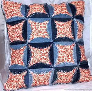 Cowboy Applique Designs Denim Cathedral Window Pillow Part 1 Favequilts Com