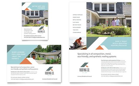 roofing company flyer ad template design