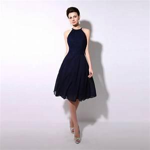 Hot Sale navy Blue Chiffon Short Bridesmaid Dresses 2015 ...