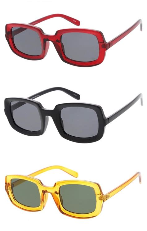 large thick square frame neutral colored lens wholesale sunglasses