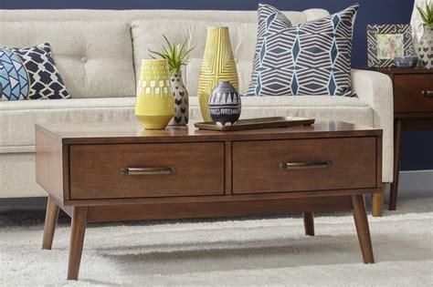 Mid century modern wood coffee table. Taintsville Mid-Century Modern 2-Drawer Coffee Table w/ Tapered Legs in Wood Finish