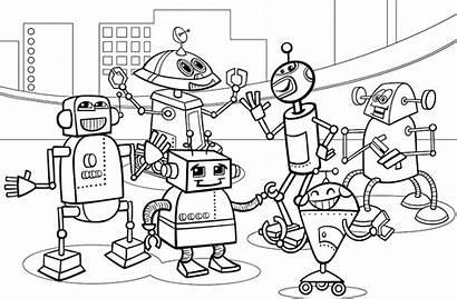 Robots Coloring Future Pages Robot Cartoon Vector