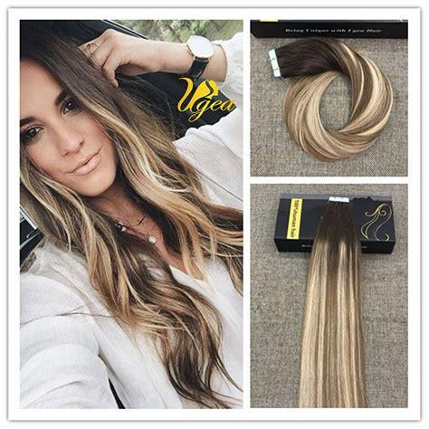 balayage highlight medium brown medium blonde pu tape