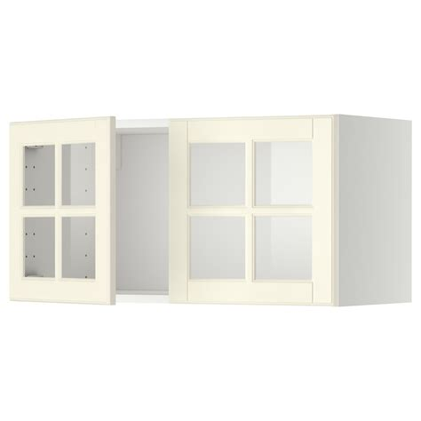 white glass cabinet doors metod wall cabinet with 2 glass doors white bodbyn off