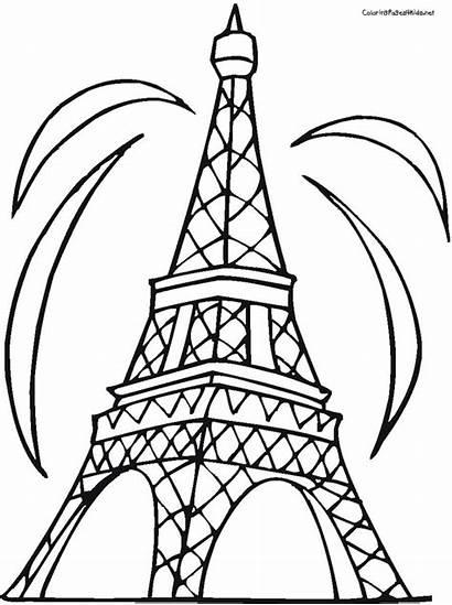 Tower Eiffel Draw Cliparts Coloring Pages Computer