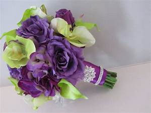 Real Touch Silk Bridal Bouquet - Purple And Green Orchids ...