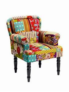 fauteuil original en tissu patchwork multicolore helline With fauteuil original coloré