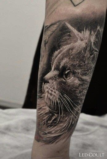 realistic black  grey cat tattoo  led coult