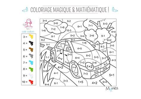 coloriage magique  mathematique la voiture momesnet