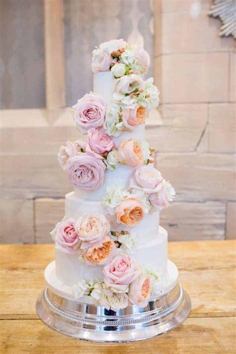 Peach Blush Pink Roses Wedding Cake Flowers Full Cake